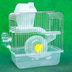 ハムスターケージ ハムスターハウス ハムスター専用 二階建て 透明 回し車 食器 給水ボトル スライド お城 運動不足解消