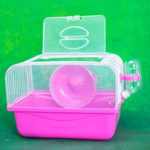 ハムスターケージ キャリーケージ ハムスター専用 小動物用キャリー 回し車 食器 給水ボトル 運動不足解消 赤色