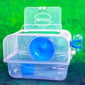 ハムスターケージ キャリーケージ ハムスター専用 小動物用キャリー 透明 回し車 食器 給水ボトル 運動不足解消 ブルー