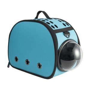 ペットケース キャリー バッグ 犬 猫 小動物用 宇宙船 カプセル ポータブル 旅行 お出かけ 通気 手提げ式 ブルー