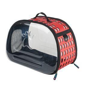 ペットバッグ ペットキャリー ペットケース 犬猫兼用 手提げ 通気性抜群 旅行 お出かけ ポータブル 透明 赤色
