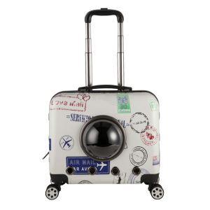 ペット旅行パッケージ ペットキャリー ペットケース 犬猫兼用 手持ち レバー付 キャスター付 通気性抜群 ポータブル 宇宙船カプセル型 スタンプ柄