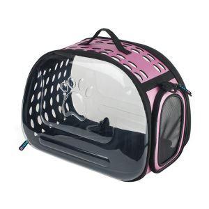 ペットバッグ ペットキャリー ペットケース 犬猫兼用 手提げ 通気性抜群 旅行 お出かけ ポータブル 透明 ピンク