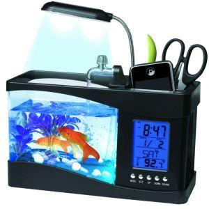 卓上アクアリウム USBミニ水族館 水槽水族館 時計 温度計 LEDディスプレイ LEDライト イルミネーション搭載 黒色