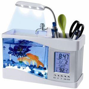 卓上アクアリウム USBミニ水族館 水槽水族館 時計 温度計 LEDディスプレイ LEDライト イルミネーション搭載 白色