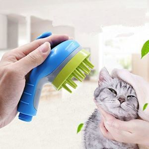 ペット用シャワーヘッド バスブラシ マッサージ機能 犬猫用 お風呂用 節水 水圧調節可能 シャンプーブラシ 短中長毛種適応 片手操作可能 ブルー