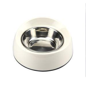 ペット食器 ペットボウル 犬猫用ボウル 滑り止め こぼれ防止 給水両用 斜めになったデザイン ステンレス製 白色 M