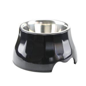 ペット食器 ペットボウル 犬猫用ボウル 滑り止め 足高型 給水両用 ステンレス製 黒色