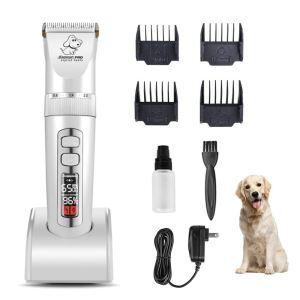 ペットバリカン 電動 LED表示 低騒音 犬猫兼用 トリマー 長さ調整可能 刈り高さ調整可能 充電式 ペットグルーミングセット