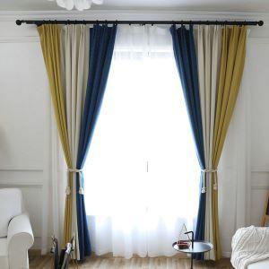遮光カーテン オーダーカーテン ジャカード 三色スプライス おしゃれ 3級遮光カーテン(1枚)