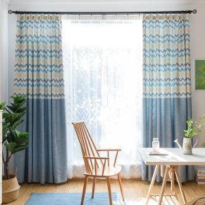 遮光カーテン オーダーカーテン 捺染 寝室用 波柄 1級遮光カーテン(1枚)