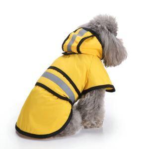 犬 レインコート 雨具 レインパーカー カッパ 犬服 防水 着脱簡単 雨の日 お散歩 お出かけ 梅雨対策 黄色