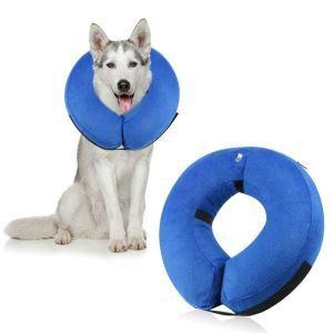 ペット用寝具 犬用枕 首まくら ネックピロー U型枕 介護用まくら 小型犬 中型犬 大型犬 ブルー L 40*40cm
