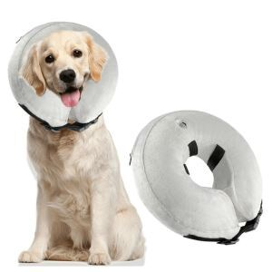 ペット用寝具 犬用枕 首まくら ネックピロー U型枕 介護用まくら 小型犬 中型犬 大型犬 グレー L 40*40cm