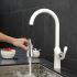 キッチン蛇口 台所蛇口 引出し式水栓 冷熱混合水栓 水道蛇口 白色 1057