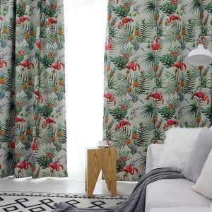 遮光カーテン オーダーカーテン 捺染 寝室用 フラミンゴ柄 1級遮光カーテン(1枚)