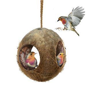 インコの巣 オウムの巣 ココナッツ ヤシの殻 小動物用ハウス ハムスター 止まり部屋 隠れ家