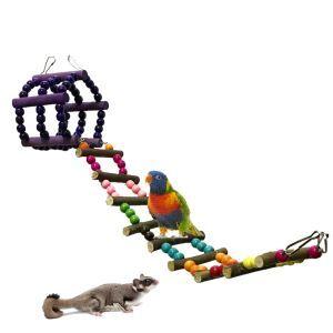 インコおもちゃ はしご ブランコ 止まり木  登り梯 噛むおもちゃ ハムスター オウム ストレス解消