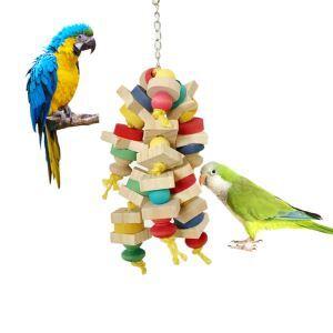 鳥用品 インコおもちゃ 噛む玩具 オウム 鳥 吊下げ 木製おもちゃ 積み木 ストレス解消