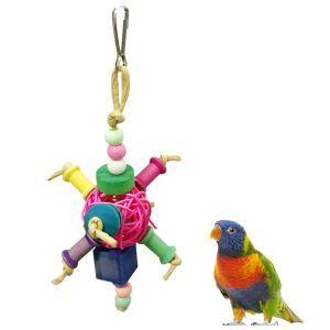 オウムおもちゃ インコおもちゃ 籐ボール 鳥用品 色おまかせ 噛む玩具 吊り下げ トレス解消 遊び 知育訓練