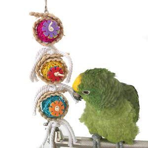 インコおもちゃ 籐ボール 麻縄 オウム用 鳥用 噛み付き防止 遊び 知育訓練 運動不足 ストレス解消
