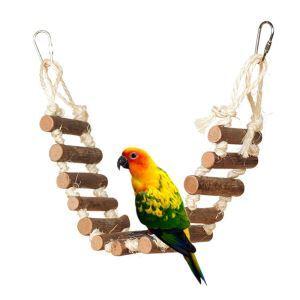 インコおもちゃ ブランコ はしご オウム用 鳥用品 木製 ストレス解消 アクセサリー