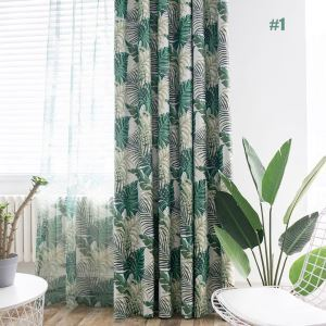 遮光カーテン オーダーカーテン 捺染 寝室用 葉柄 オシャレ 1級遮光カーテン(1枚)