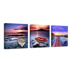 絵画 油彩画 アートパネル 装飾絵画 壁飾り 船 プレゼント 3pcs 30*30cm