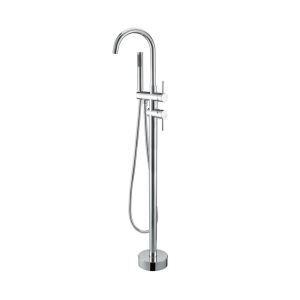 床置き型シャワー水栓 床立ち上げ式浴槽蛇口 冷熱混合栓 ハンドシャワー付き クロム WZ6158