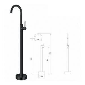 床置き型シャワー水栓 床立ち上げ式浴槽蛇口 冷熱混合水栓 黒色 黒色 AD5688