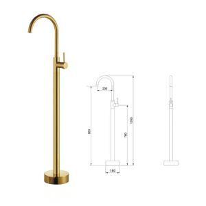床置き型シャワー水栓 床立ち上げ式浴槽蛇口 冷熱混合水栓 金色 Ti-PVD AD5688