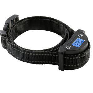 無駄吠え防止首輪 トレーニングカラー 伸縮首輪 レシーバ防水 しつけ用 警告音 振動感度で制御 LCD表示