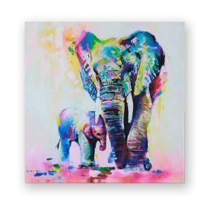 絵画 油彩画 アートパネル 装飾絵画 壁飾り 象 プレゼント 1pcs 30*30cm