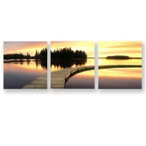 絵画 油彩画 アートパネル 装飾絵画 壁飾り 夕日 プレゼント 3pcs 30*30cm