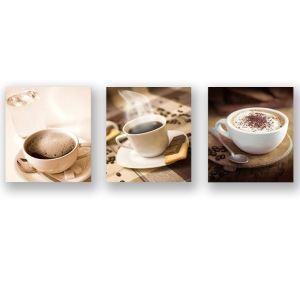 絵画 油彩画 アートパネル 装飾絵画 壁飾り コーヒー柄 プレゼント 3pcs 30*30cm