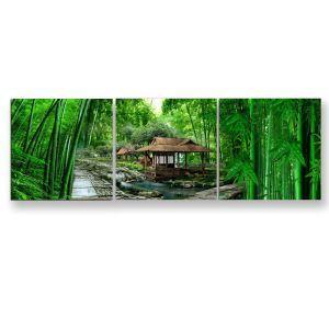 絵画 油彩画 アートパネル 装飾絵画 壁飾り 竹柄 プレゼント 3pcs 30*30cm