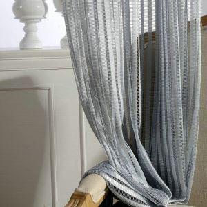 シアーカーテン オーダーカーテン UVカット ジャカード 縦縞柄 オシャレ レースカーテン(1枚)