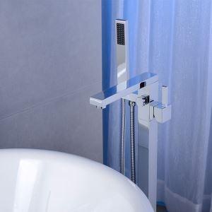 床置きシャワー水栓 床立ち上げ式浴槽蛇口 冷熱混合栓 ハンドシャワー付 クロム HY7600
