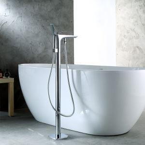 床置きシャワー水栓 床立ち上げ式浴槽蛇口 冷熱混合栓 ハンドシャワー付 クロム 18D026
