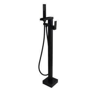 床置きシャワー水栓 床立ち上げ式浴槽蛇口 冷熱混合栓 ハンドシャワー付 黒色 LDTZ019
