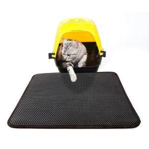 猫のトイレマット 砂取りマット 飛び散り防止マット メッシュ 滑り止め 防カビ防臭防水 猫用品 黒色