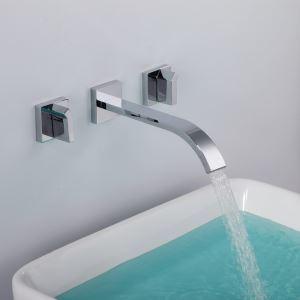 壁付水栓 バス蛇口 洗面水栓 水道蛇口 2ハンドル混合栓 クロム FTTB003