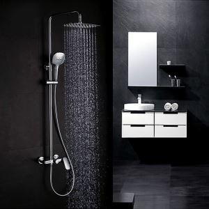 浴室シャワー水栓 レインシャワーシステム サーモスタット式混合栓 ヘッドシャワー+ハンドシャワー+蛇口 クロム