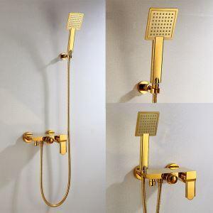 シャワー水栓 バス蛇口 ハンドシャワー 冷熱混合栓 水栓金具 風呂用 Ti-PVD