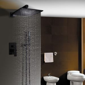 埋込形シャワーシステム シャワーバス水栓 ヘッドシャワー+ハンドシャワー 風呂用蛇口 黒色