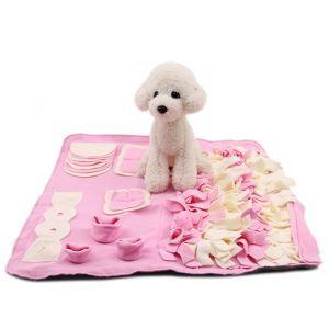 ペットトレーニングマット 餌マット ノーズワーク 嗅覚活用 遊び場所 訓練毛布 集中力向上 性格改善 運動不足/ストレス解消 分離不安/食いちぎる対策 ペットおもちゃ ピンク