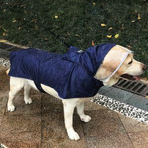犬のレインコート カッパ 雨具 雨服 防水 軽い 犬服 中型~大型犬 ブルー