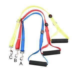 ペットリード LED牽引ロープ 発光ハーネス LED発光 電池式 中大型犬 発光帯 ナイロン 調節可能夜間の安全 お散歩