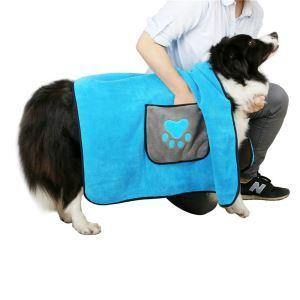 ペット用タオル シャワータオル ブランケット 吸水速乾 体拭き 清潔用品 ポケット 手を挿入可 ブルー
