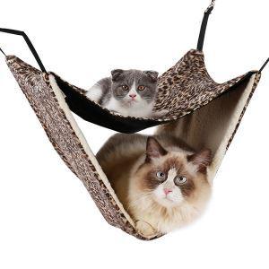 猫ハンモック 二層 猫ベッド 二匹用 吊り下げ 吊り床 柔らかい 保温性 春秋冬用